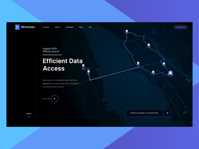 BEAM Project | Launch section flow landing page ui ux connectivity webdesign electronic digital animation data analysis data market place design app business responsive map illustration ui flow interactions interface