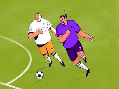 Attack soccer ball football fußball editorial illustration illustration