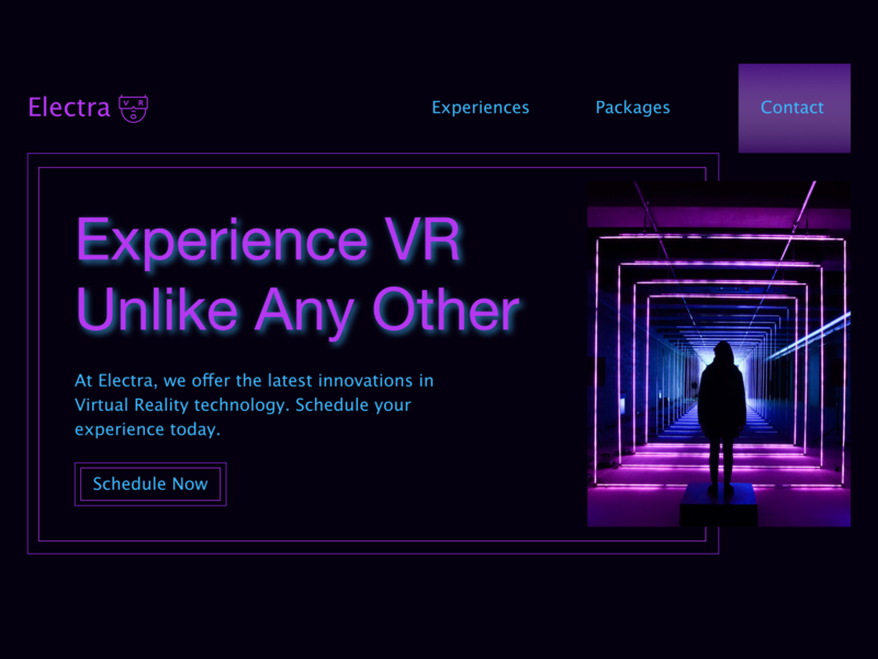Electra VR purple neon virtualreality virtual reality vr homepage web design hero section