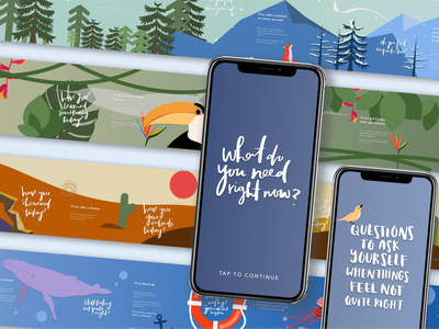 What Do You Need Right Now ux hackathon figma camp figma wellbeing mental health typography illustration app design ui