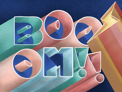 BOOOM!! procreate app 3d shoutbam design cuts tutorial lettering handlettering procreate beginner illustration