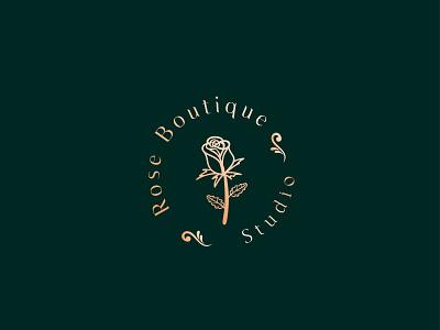 rose boutique logo feminine logo clean luxury brand beauty logo lettering typography logo design lettering icon design minimal logo branding