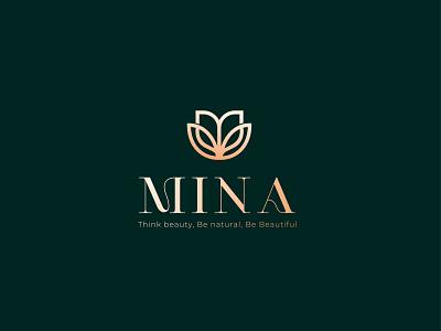 mina cosmetic logo clean flat beauty logo luxury brand typography icon design minimal logo branding