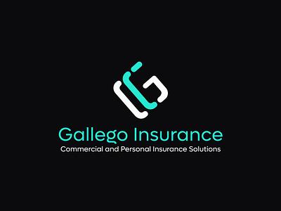 gallego insurance logo modren logo app flat logo vector branding lettering logo design lettering typography icon design minimal logo branding