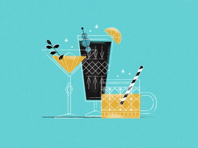 Retro Drinks glass elegant party drinks vintage retro minimalistic blue texture yellow minimal monochromatic illustration
