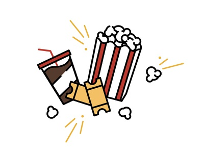 Popcorn & Movies playful popcorn kernels dr. pepper movie tickets icons vector animation styleframes minimal soda movie popcorn and movie