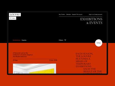 The Louvre date list events exhibitions typography art concept site minimal ui design website clean web