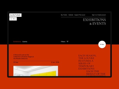 The Louvre date list events exhibitions typography art concept site minimal ui design website clean web