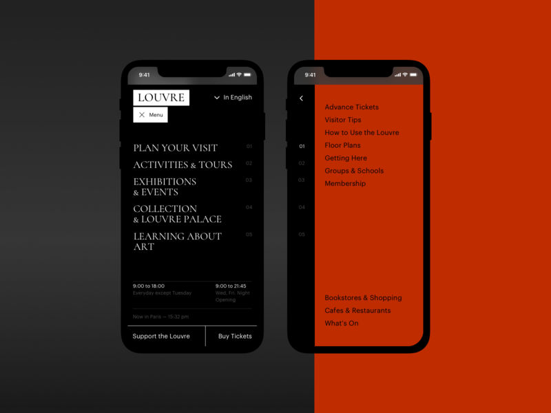 The Louvre museum menu navigation mobile adaptive ux typography artist art concept ui site minimal design website web clean
