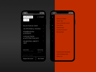 The Louvre museum menu navigation mobile adaptive ux typography artist art concept ui site minimal design website web clean