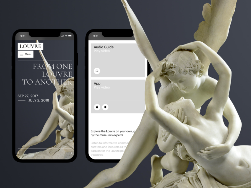 The Louvre exhibition louvre museum ux typography artist art concept ui site minimal design website web clean