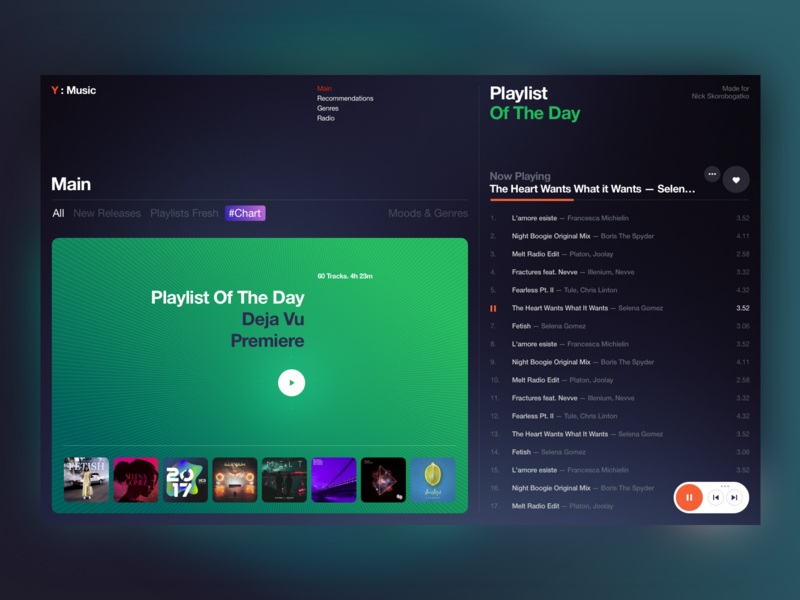 Exercise No.1 promo concept playlist player music ui site minimal design website web clean