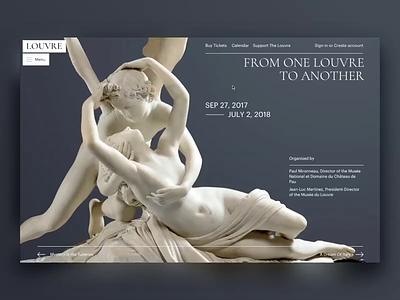 The Louvre. Main Page. Animation. museum ux promo typography principle animation artist art concept ui site minimal design website web clean