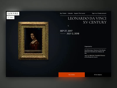The Louvre exhibition gallery collection museum promo ux typography principle animation artist art concept ui site minimal design website web clean