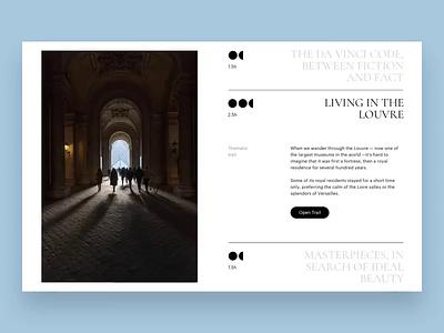 The Louvre museum trails promo ux typography principle animation artist art concept ui site minimal design website web clean
