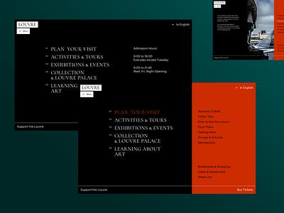 The Louvre navigation submenu louvre museum menu typography artist art concept ui site minimal design website web clean