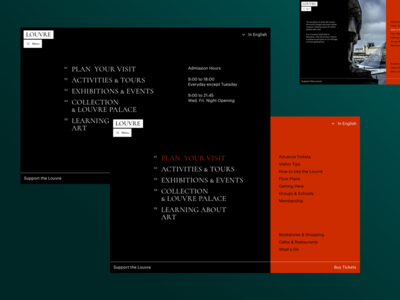 The Louvre navigation submenu louvre museum menu typography artist art concept ui site minimal design website web clean