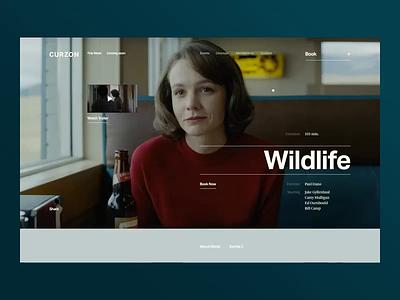 Curzon ux typography principle animation curzon wildlife movie concept ui site minimal design website web clean