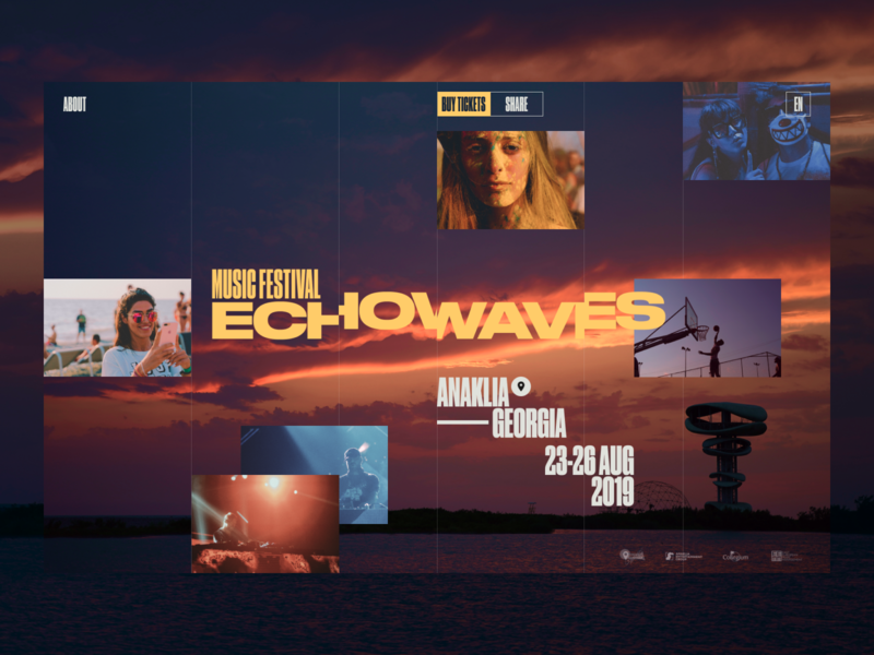 Echowaves promo typography concept ui site minimal design website web clean