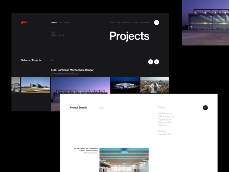 gmp. projects page typography concept ui site minimal design website clean web
