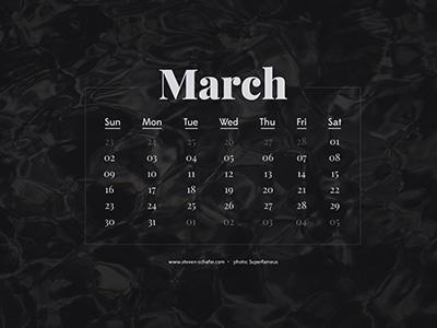 Wallpaper Project: March wallpaper calendar dark serif sans elegant clean superfamous