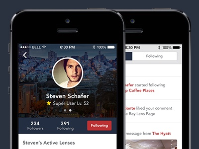 1App - Profile + Feed + New Color profile feed blue red flat mobile app minimal clean avenir button san francisco