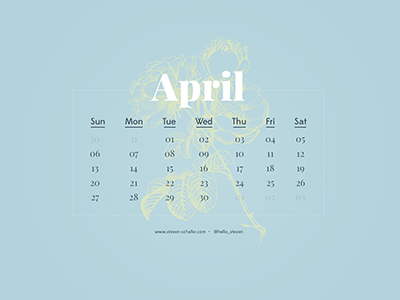 Wallpaper Project: April clean light calendar spring blue type typography serif sans wallpaper