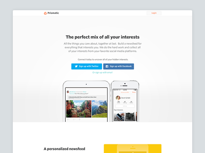 Prismatic Landing Page web landing illustrations product flat clean whitespace ios