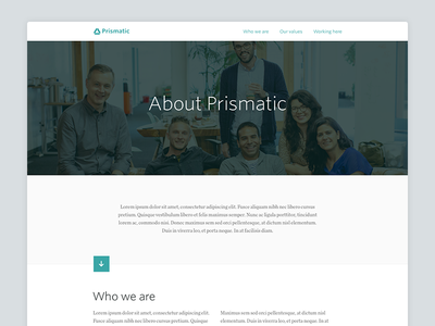 Prismatic Team Page prismatic team about culture minimal clean layout web flat