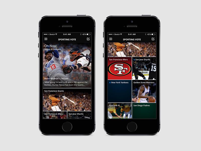 Sporting Vote - Home feed grid teams voting iphone dark sports