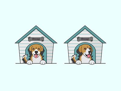 Cartoon Dog Kennel fostering logo dog fostering puppy happy dog corgi mix australian shepherd mix dog home dog kennel doggy logo pet logo pet shop logo pet store logo cartoon logo illustration dog logo animal logo logo design mascot logo