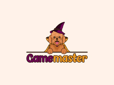 Happy Poodle In Wizard Robes cartoon logo dog logo card games logo gaming dog logo furry wizard hat poodle wizard robes illustration animal logo logo design mascot logo