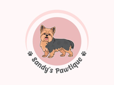 Happy Yorkie puppy doggy doggo pawtique paws furr yorkie morkie design pet shop logo cartoon logo dog logo illustration animal logo logo design mascot logo