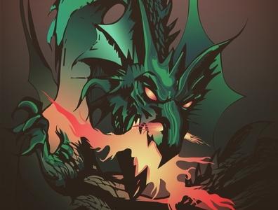 Dragy fire dragon digitalart comics comic art vector illustration art