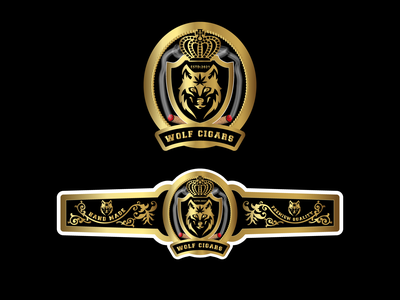 Wolf Cigar logo and  label Design graphic design branding logo cigar logo cigar band design cigar bran design cigar band smoke label weed logo cannabis packaging marijuana labe label design packaging label design cigar brands cigar label