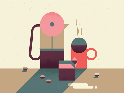 Morning Routine caffeine new normal wake up morning fun illustration coffee bean french press coffee