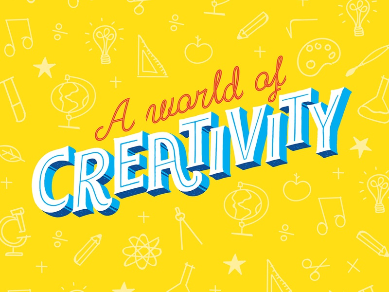 Back-To-School creativity disinfecting wipes lettering typography rocket apple school packaging