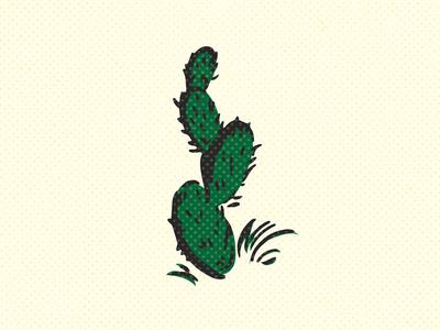 Cactus halftone vintage retro pokie sharp illustration cacti cactus