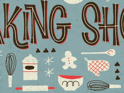 Baking  icons pattern christmas retro vintage lettering typography illustration