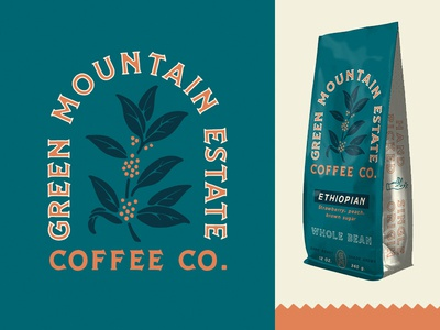 Green Mountian illustration packaging coffee