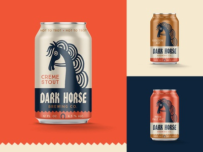 Dark Horse packaging lettering branding funky illustration design packaging beer