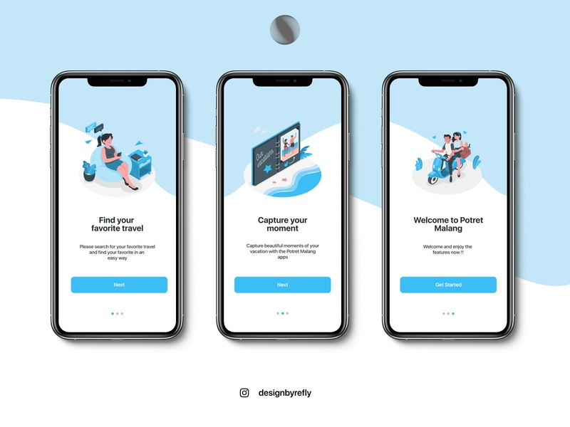 Onboarding Screen for Travel App illustration ux ui