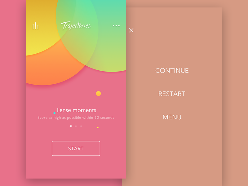 Trajectories UI pink red color mode home setting game interface ui