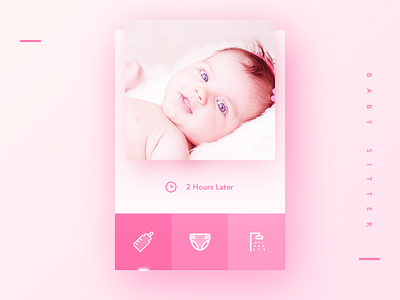 Baby sitter card line icon pink baby sitter daily ui