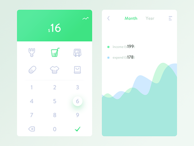 BookKeeping daily ui app ux ui distribution simple green expend income balance bookkeeping save