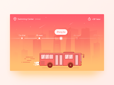 Bus Positioning location time city position bus pink illustration ui ux app daily ui