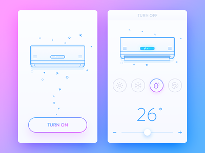 Air Conditioning System mode system air-condition simple line blue illustration ui ux app daily ui