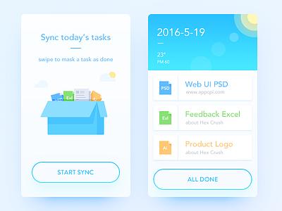 Task Log sync log task list weather simple blue illustration ui ux app daily ui