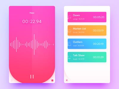 Voice Memos memos recorder color pink voice simple clean ui ux app daily ui
