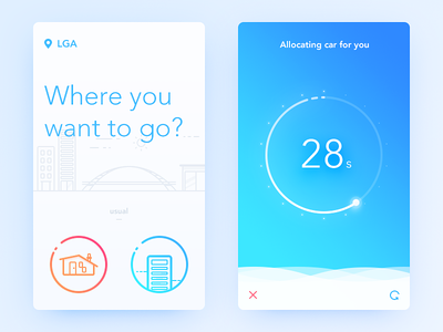 Taxi Waiting location wait taxi simple blue illustration ui ux app daily ui